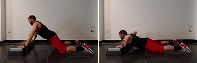 pushup facilitato in ginocchio
